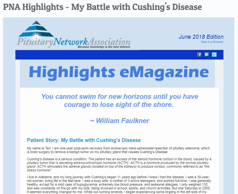 Highlights My Battle With Cushings Disease