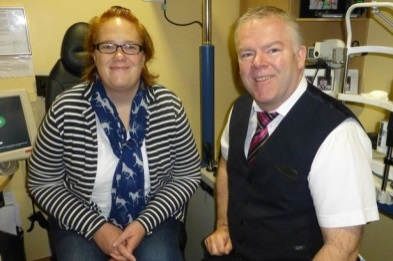 Peta Spiller and Optician Gary Owen