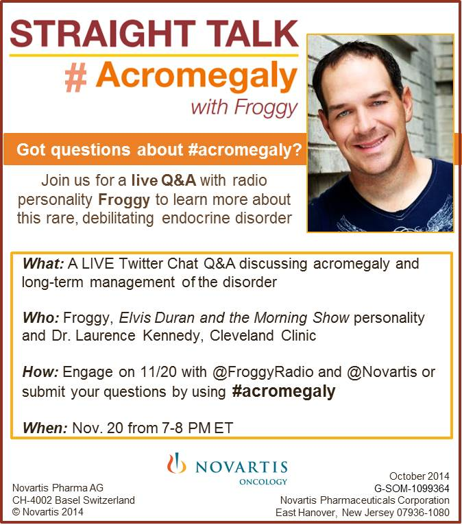 Straight Talk Acromegaly Froggy Twitter Chat Logistical Details